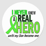 Never Knew A Hero 2 LIME GREEN (Son) Round Sticker