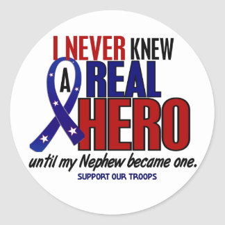 Never Knew A Hero 2 Nephew (Support Our Troops) Round Sticker
