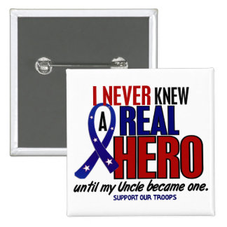 Never Knew A Hero 2 Uncle (Support Our Troops) 15 Cm Square Badge