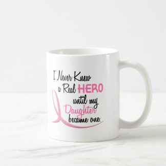 Never Knew A Real Hero 3 Daughter BREAST CANCER Coffee Mug