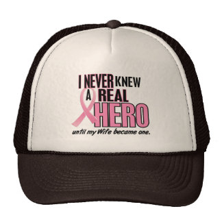 Never Knew A Real Hero WIFE (Breast Cancer) Mesh Hats