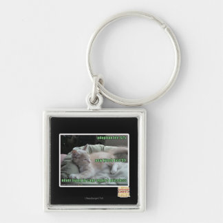 Never living in a cage again Silver-Colored square key ring