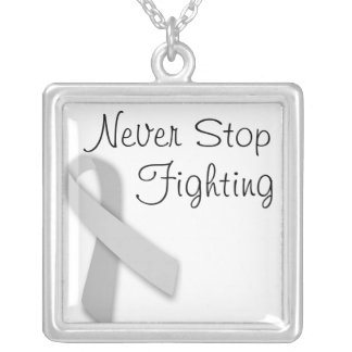 Never Stop Fighting Square Pendant Necklace