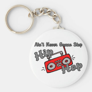 Never Stop Hip Hop Basic Round Button Key Ring