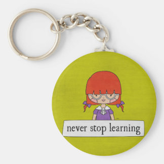 Never Stop Learning by Linda Tieu Basic Round Button Key Ring