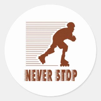 Never Stop: Rollerblading Round Sticker