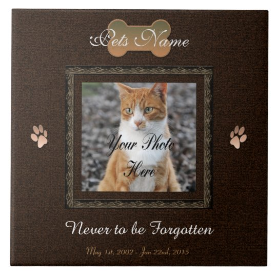 Never to be Forgotten Dog or Cat Memorial Large Square Tile