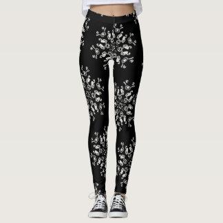 *~* Never Too Many Snowflakes Black & White Leggings