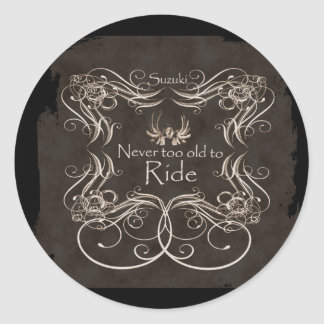 Never too old to ride classic round sticker