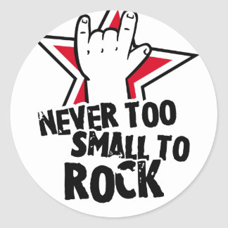 Never too small to rock round sticker