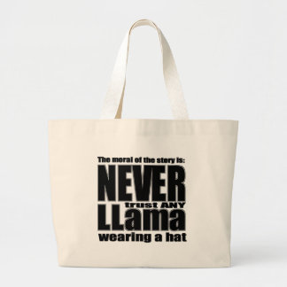 Never Trust a Llama in a Hat Large Tote Bag
