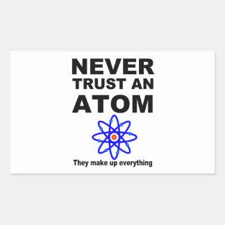 Never trust an atom rectangular sticker