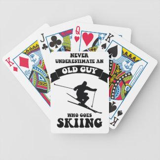 Never underestimate an old guy who goes skiing bicycle playing cards