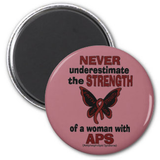 Never Underestimate...Woman/Butterfly...APS 6 Cm Round Magnet