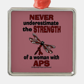 Never Underestimate...Woman/Dragonfly...APS Christmas Ornament