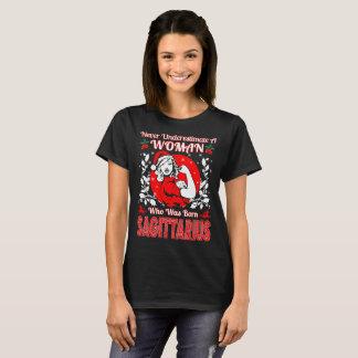 Never Underestimate Woman Sagittarius Christmas T-Shirt