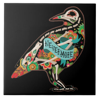 Nevermore Sugar Skull Raven Large Square Tile