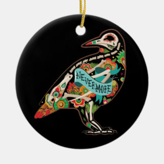 Nevermore Sugar Skull Raven Ornament Round