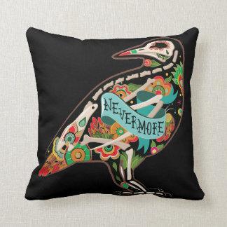 Nevermore Sugar Skull Raven Pillow