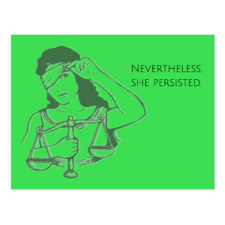 Nevertheless, she persisted (green) postcard