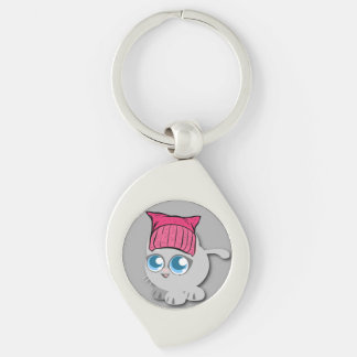 Nevertheless, she PURRsisted. (Persisted) Silver-Colored Swirl Key Ring