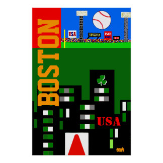 New 2013 Boston Art Poster Kids Sports Gift