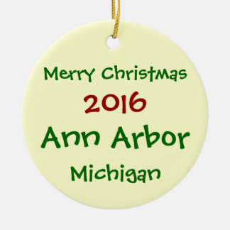 NEW 2016 ANN ARBOR MICHIGAN CHRISTMAS ORNAMENT