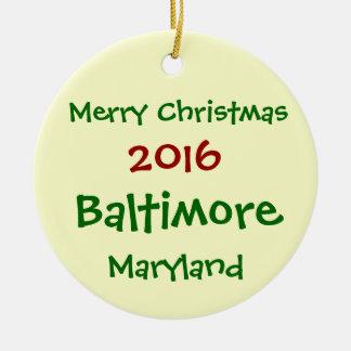 NEW 2016 BALTIMORE MARYLAND CHRISTMAS ORNAMENT