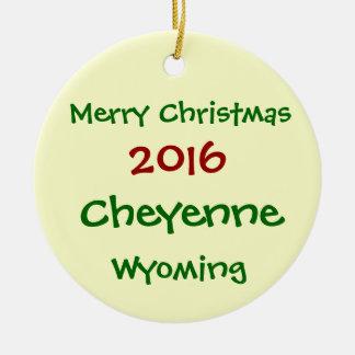 NEW 2016 CHEYENNE WYOMING MERRY CHRISTMAS ORNAMENT