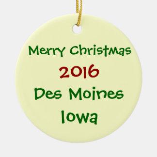 NEW 2016 DES MOINES IOWA MERRY CHRISTMAS ORNAMENT
