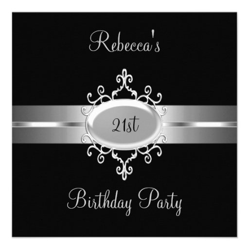 NEW 21st Birthday Party Black Silver Personalized Invites