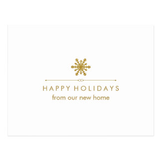 New Address at Christmas Glam Gold Snowflake Postcard