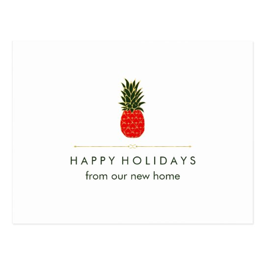 New Address at Christmas Red Green Gold Pineapple