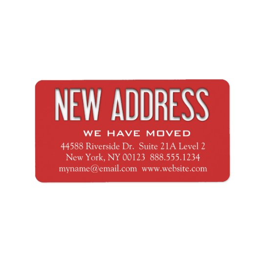"""New Address"" Change Notification Label Address Label"