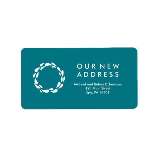 New Address Classic Teal and White Wreath Label
