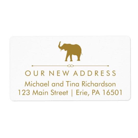 New Address Glam White and Gold Elephant