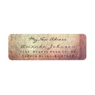 New Address Golden Sparkly Pink Brush Stroke Return Address Label