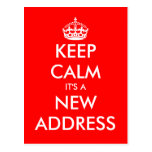 New address keep calm moving postcards