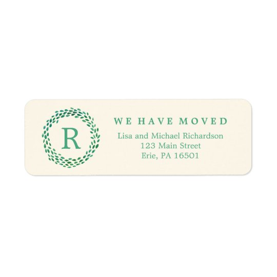 New Address Monogram and Green Watercolor Wreath Return Address Label