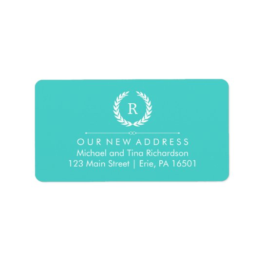 New Address on Turquoise and White Monogram Wreath Label