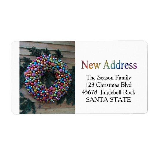 New Address ornament wreath Holiday Label