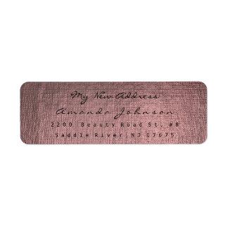 New Address Pink Rose Burgundy Golden Makeup Gray Return Address Label