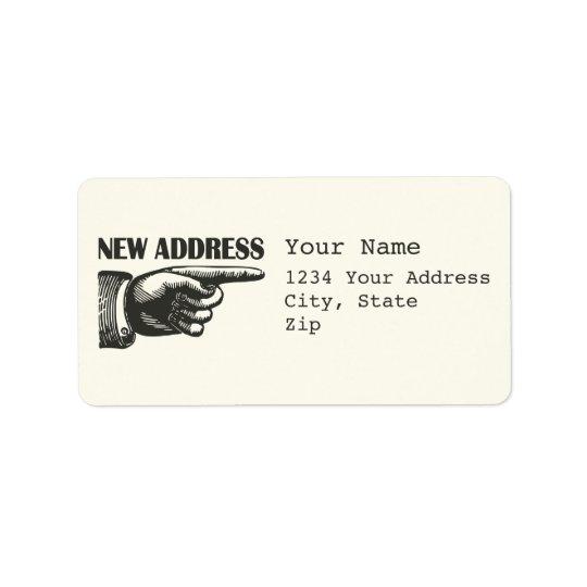 New Address Pointing Hand Address Label