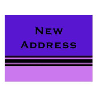 New Address purple and black stripes Postcards