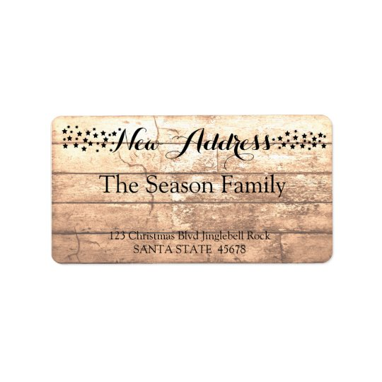 New Address Rustic wooden holiday label