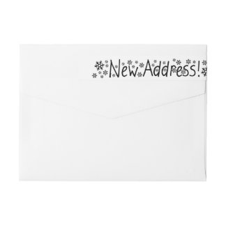 New Address Snowflake Christmas Wrap Around Label