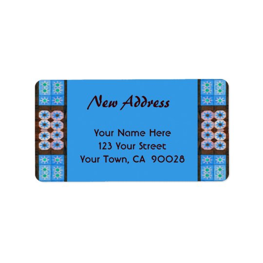 New Address Turquoise Brown Tile Pattern Address Label