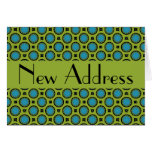 New Address Turquoise Green Circles Note Card