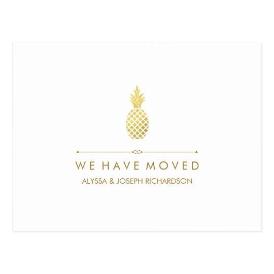 New Address with Elegant Gold Pineapple Postcard