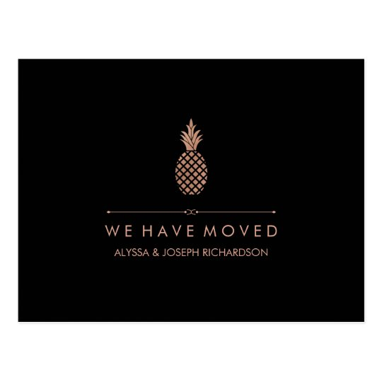 New Address with Faux Rose Gold Look Pineapple